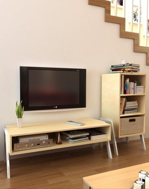 潮土 创意木质电视柜 三层储物柜两件套客厅组合价格