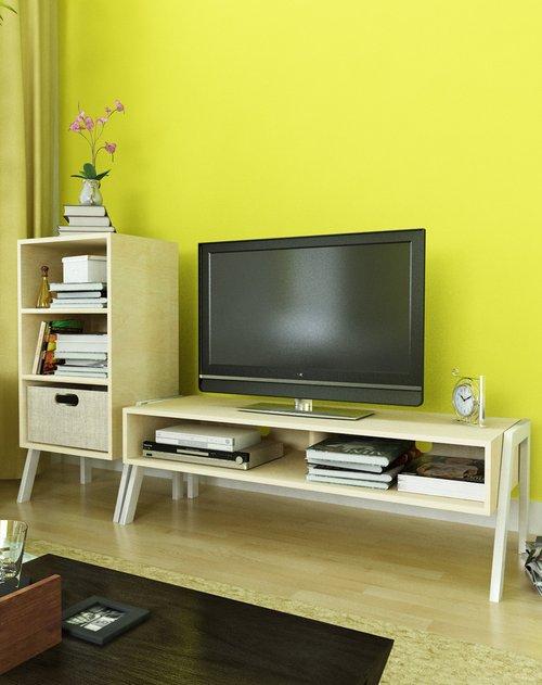 潮土 创意木质电视柜 三层储物柜两件套客厅组合