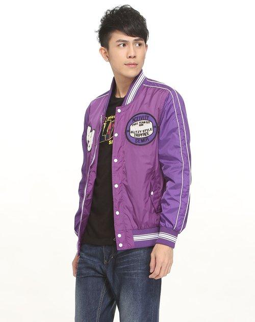 森马男装专场贴布绣紫色长袖外套图片