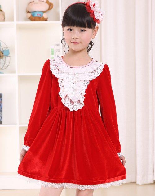 女童红色长袖连衣裙