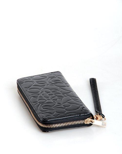 花纹黑色拉链长款钱包