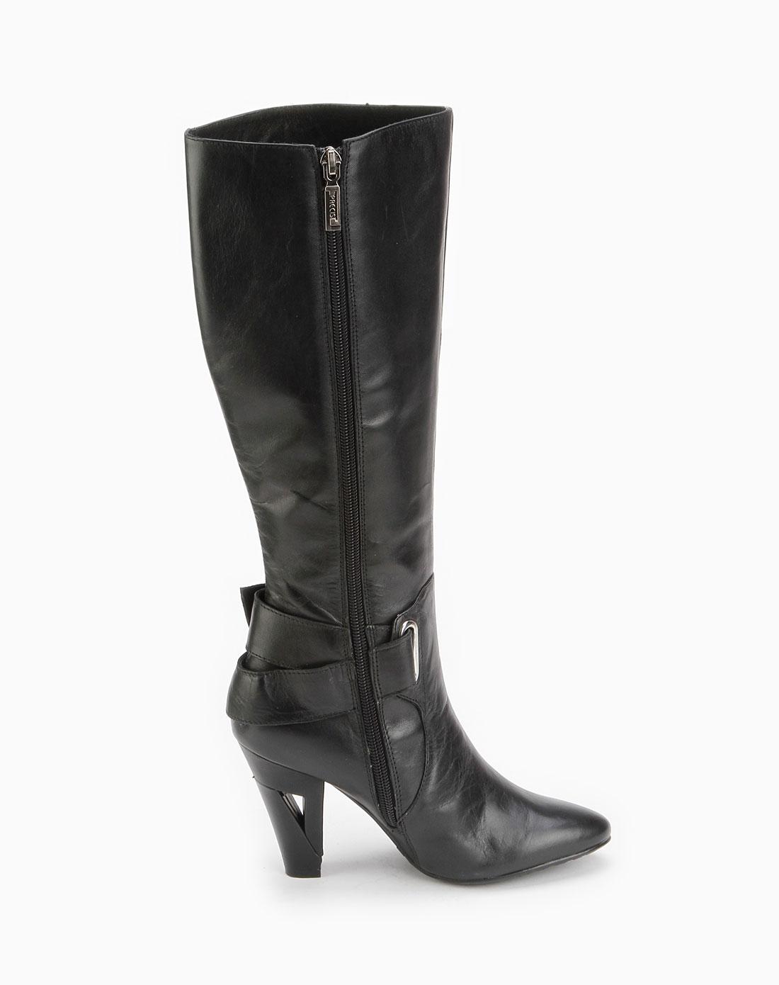 安玛莉precis黑色侧扣拉链中筒靴2m8301bkl