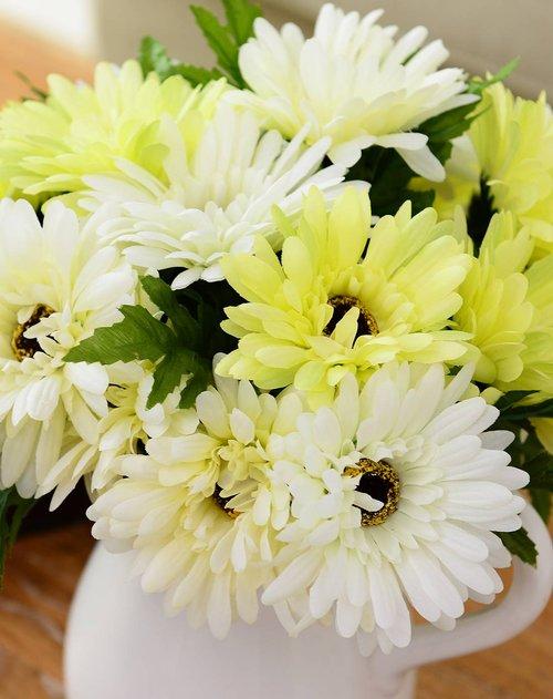 奇居良品create for life家具整体花艺 白色陶瓷水壶花瓶 6头手札太阳