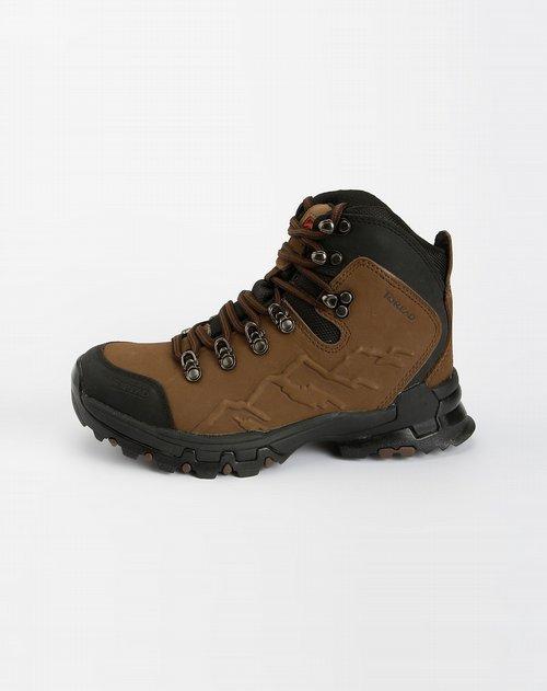 深棕色绑带登山鞋
