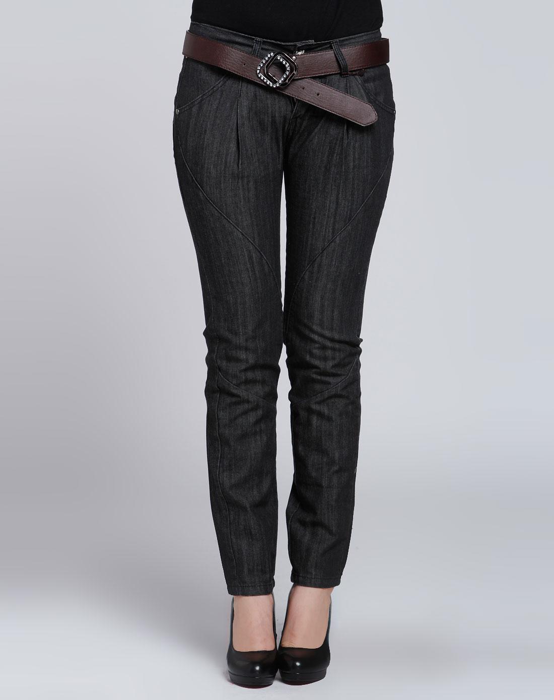 女款黑色简约牛仔长裤
